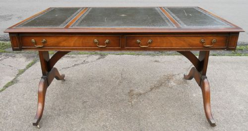 Large Leather Top Mahogany Period Style Writing Table by Reprodux